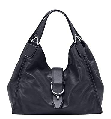 0b6a845a845607 Gucci Stirrup Black Washed Soft Calf Leather Medium Hobo Bag 296856 1000