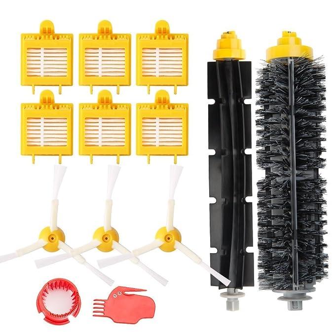 ... Roomba Serie 700 (700, 760, 770, 780 y 790) - Kit Accesorios de 13 Piezas(Cepillos Lateral, Filtros, Cepillo de Cerda y etc..) para Aspirador Robot.