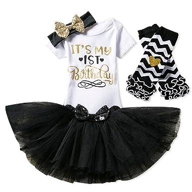 44ad61ac77e46 NNJXD Girl Newborn It's My 1st Birthday 3 Pcs/4 pcs Outfits  Romper+Skirt+Headband(+Leggings)