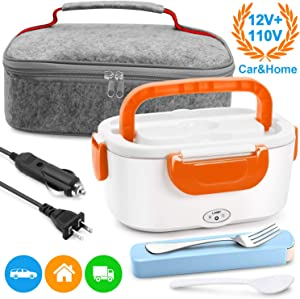 Electric Lunch Box Food Heater - Farochy Heating Lunch Box Heater Portable Microwave Electric Lunch Box 2 in 1 for Car and Home 110V & 12V, Stainless Steel Food Warmer and Heater (Orange)