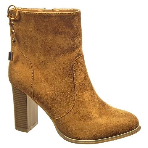Angkorly - Zapatillas de Moda Botines low boots mujer nodo Talón Tacón ancho alto 9 CM - plantilla Forrada de Piel - Camel F1025 T 40: Amazon.es: Zapatos y ...