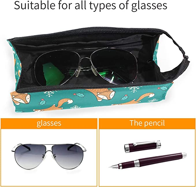 My Little Nest Eyeglass Sunglasses Holder Pouch Bag Cute Foxes Multi Function Zipper Pen Case Pencil Bag Organizer