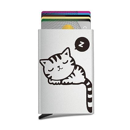 Purride - Tarjetero unisex con diseño de gato, automático ...