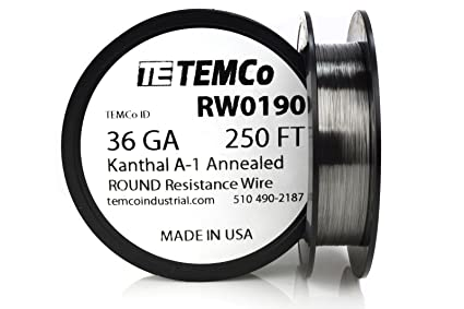TEMCo Kanthal A1 wire 36 Gauge 250 Ft Resistance AWG A-1 ga ...