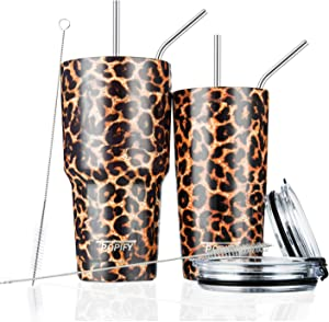 30oz and 20oz Stainless Steel Insulated Leopard Tumbler Travel Mug with Straw Slider Lid, Cleaning Brush, Double Wall Vacuum