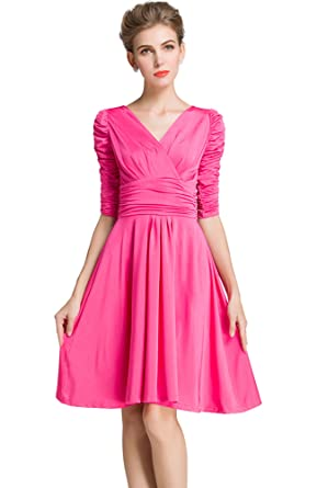 Medeshe Womens Pink Ruched Waist Classy V-Neck Short Bridesmaid Prom Dress (UK 6