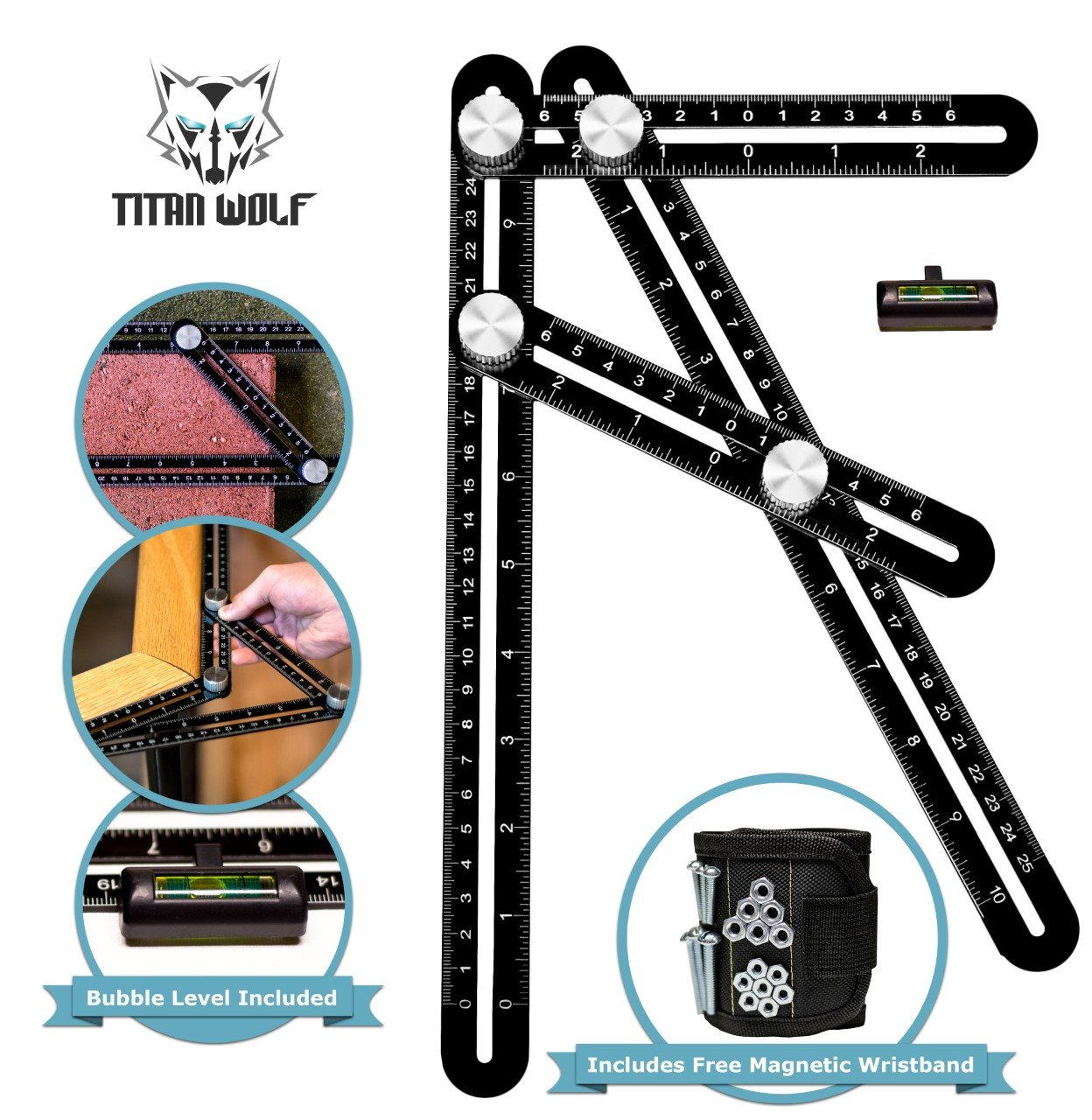 Premium Aluminum Laser Engraved Multi Angle Measuring Ruler Template Tool With Bubble Level And Bonus Magnetic Wristband Perfect For Any Project   Carpenters   Architects   DIYer's   Builders