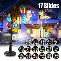 infinitoo 17 Motifs Projecteur Noël LED Extérieur Lumière Etanche, Lampe Décorative Eclairage Extérieur et Intérieur, Lampe d'Ambiance/ Lampe de Scène Parfait pour les Fêtes(Noël, Halloween... ), Soirée , Carnaval, etc.