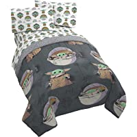 Star Wars The Mandalorian The Child 4 Piece Twin Bed Set - Includes Reversible Comforter & Sheet Set - Bedding Features…