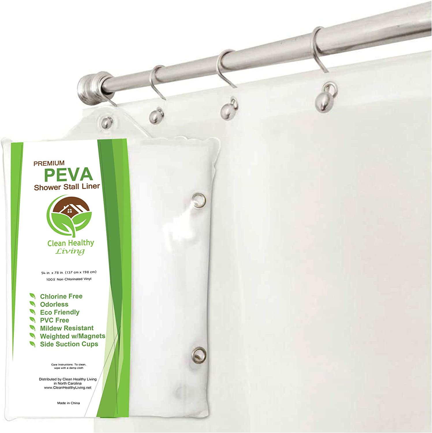 Amazon Com Clean Healthy Living Peva Frost Stall Shower Curtain Liner With Magnets Suction Cups 54 X 78 Inches Home Kitchen
