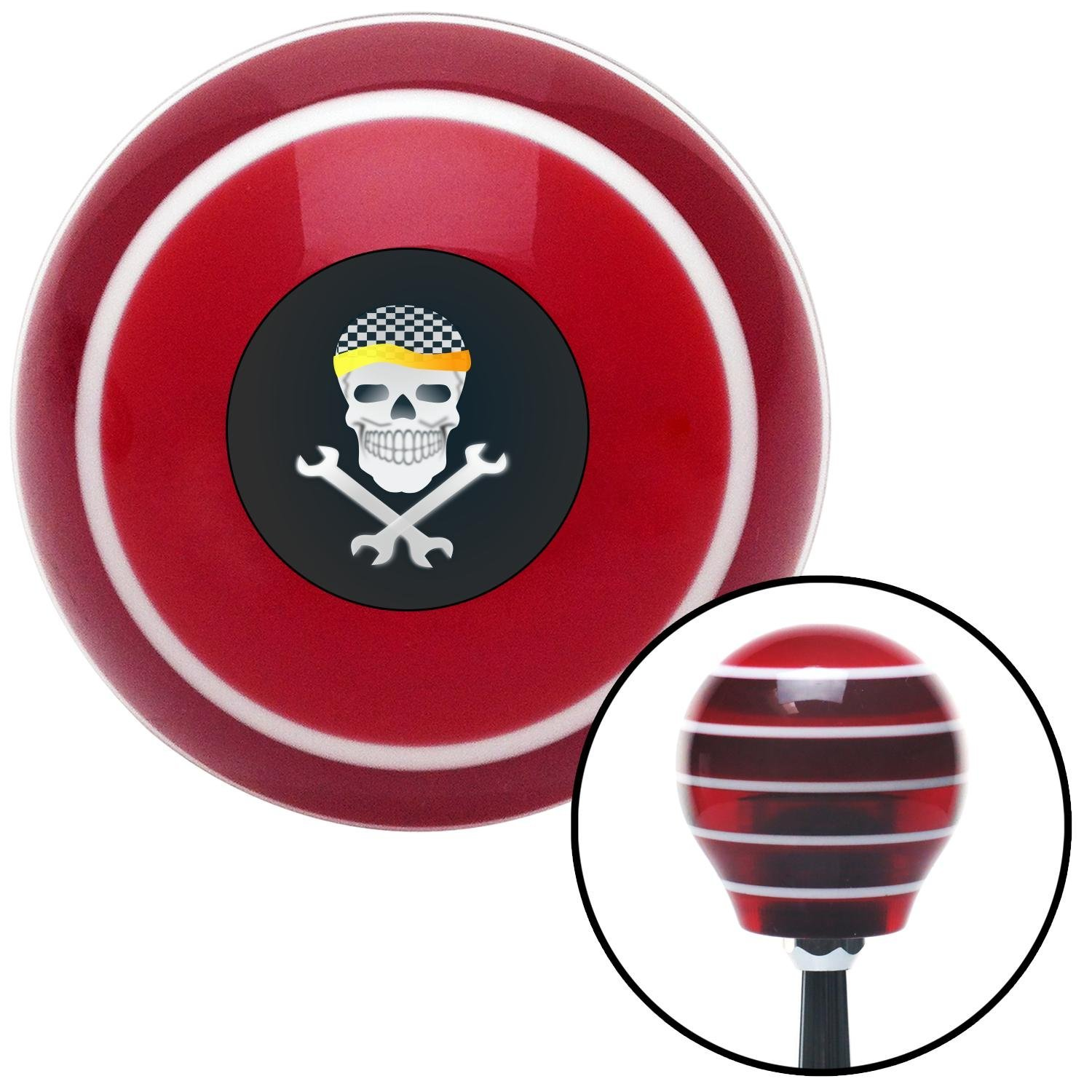 American Shifter 118629 Red Stripe Shift Knob with M16 x 1.5 Insert Skull n Wrenches