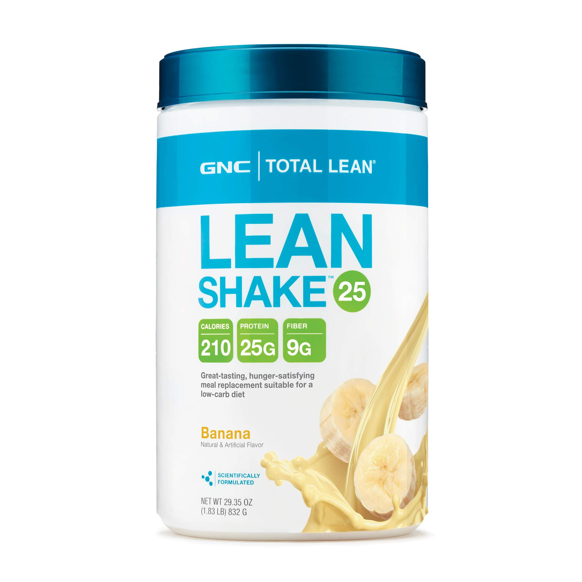 GNC Total Lean 25 Meal Replacement Shake for Weight Loss and Low-Carb Diets, Banana, 16 Servings, Protein Powder for Weight Management Support