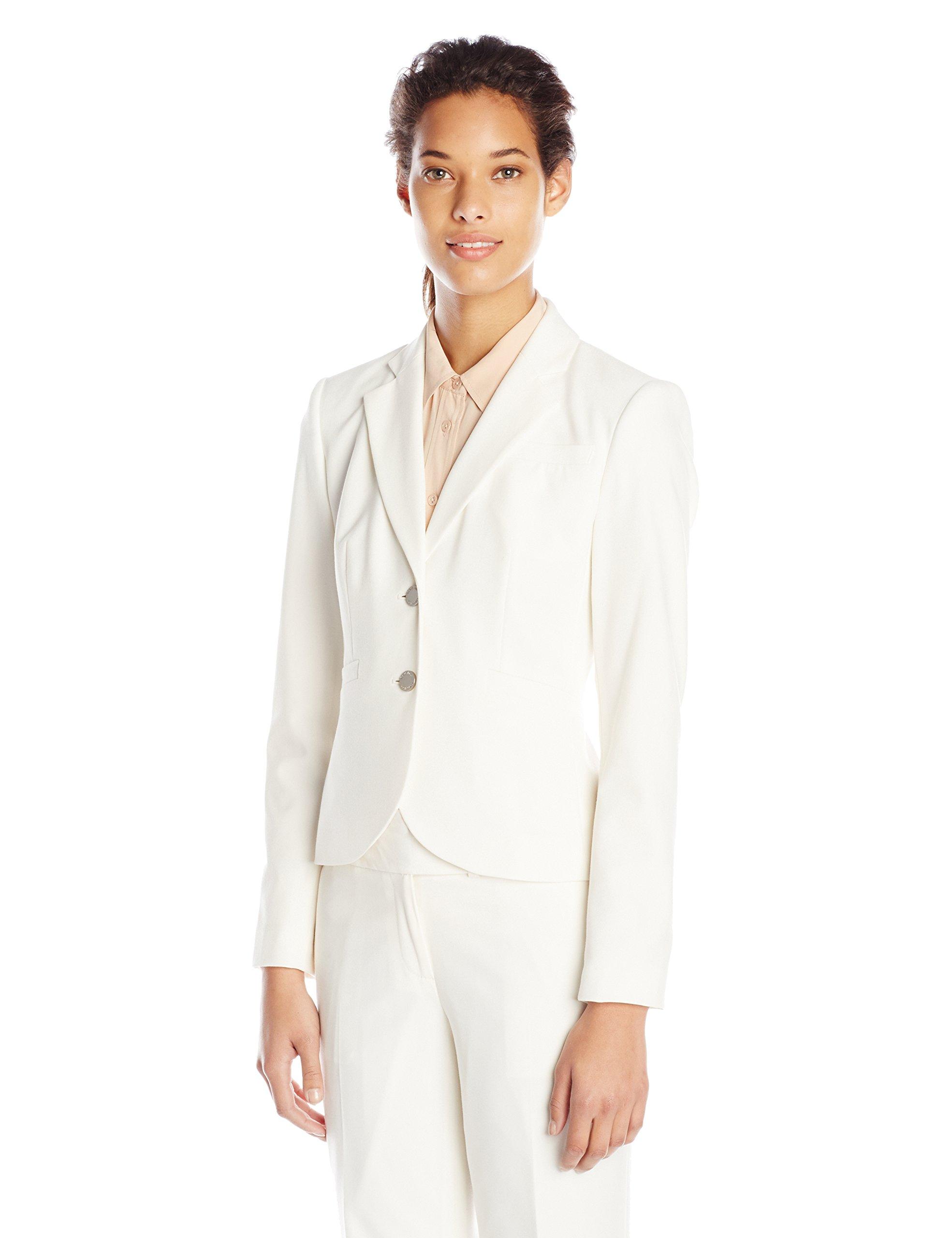 Calvin Klein Women's 2 Button Suit Jacket, Cream, 10