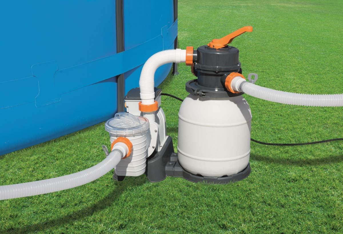 Bestway 58400 - Depuradora de arena (3.785 l/h) - Provista de mangueras compatibles y válvula de seis posiciones. Potencia de 180W - Para piscinas de ...