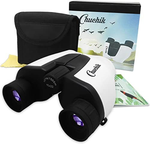 Chuchik Toys Best Binoculars for Kids, 10X22 Magnification. A Unique Gift for Boys and Girls Age 3-14.
