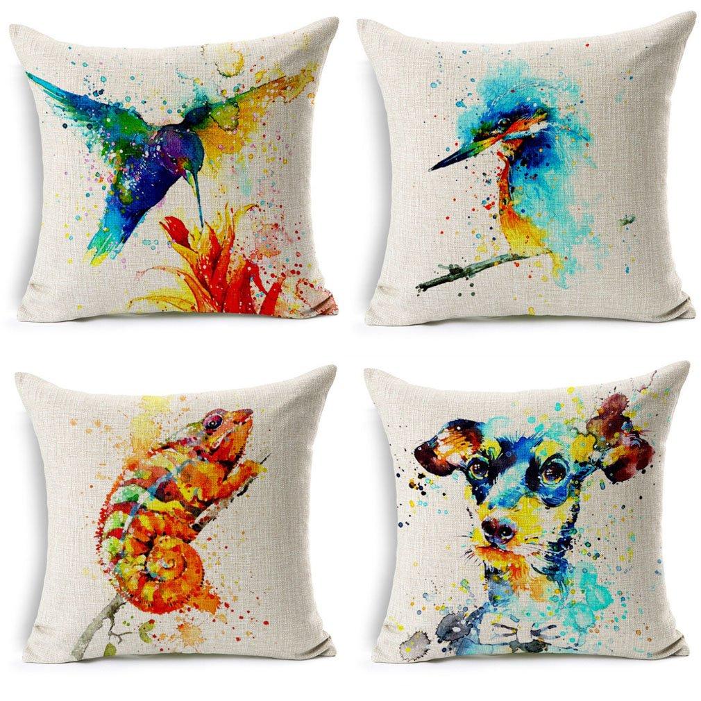 Nunubee Flax Pillowcase Set Cushion Cover Set Home Decor 45x45 CM Animal B, Set of 4 ZH7005F0092-0095