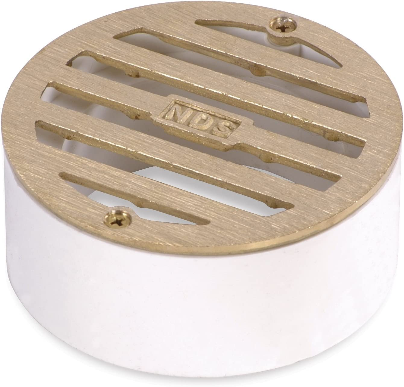 """NDS 909B 3"""" Round Solid Brass Grate with PVC Collar, Satin Brass"""