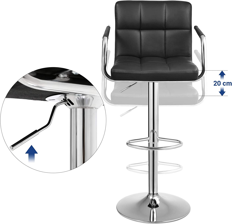 SONGMICS 2 tabourets de bar haut chaise de bar PU  hauteur réglable rotative