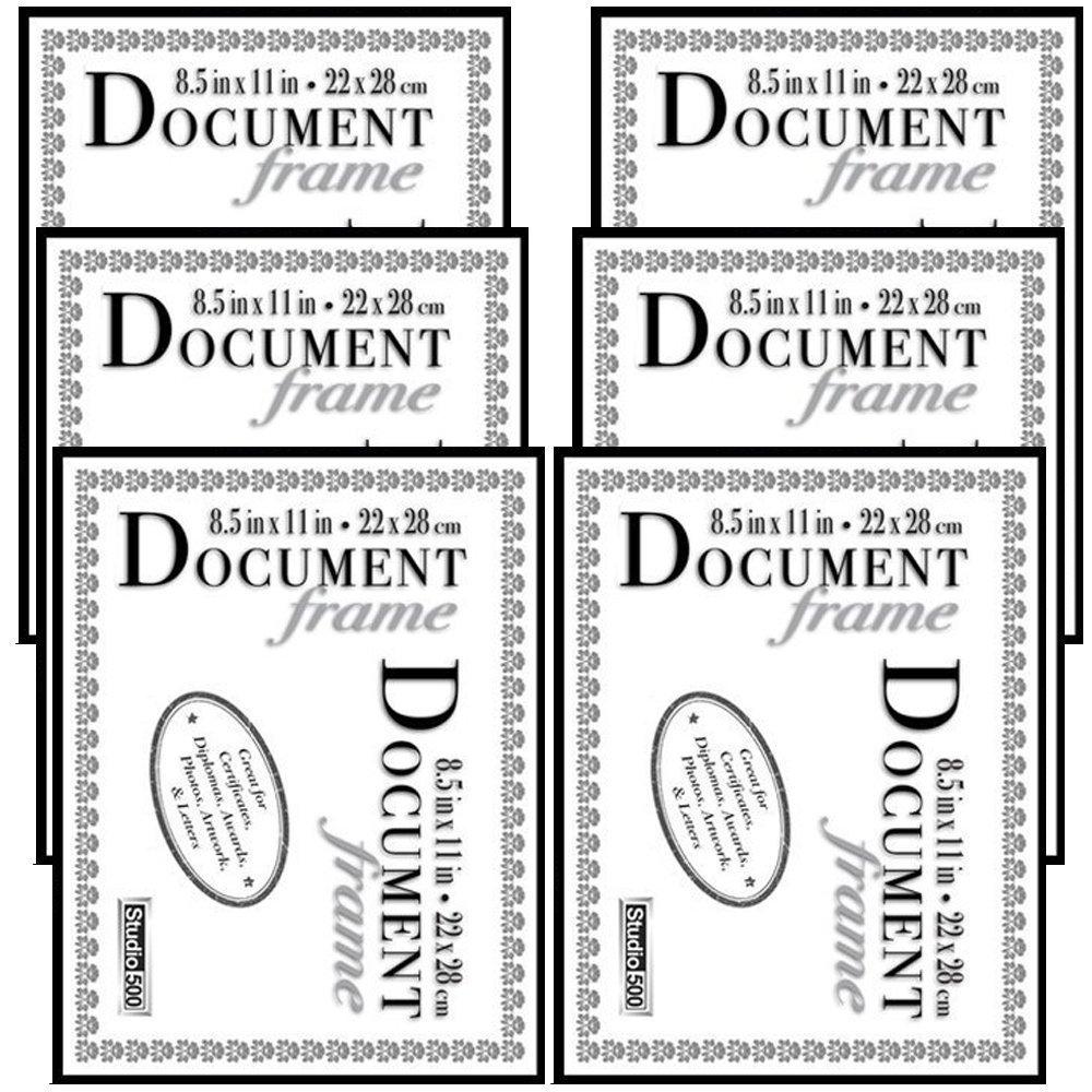 Studio 500 8.5 by 11, The Original Slim Photo Document Frame, 6-pack, Black
