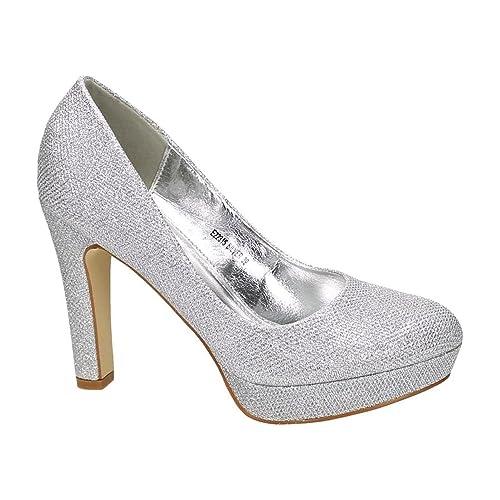 Neu werden attraktive Farbe Geschicktes Design Damen Pumps Glitzer High Heels mit Blockabsatz Plateau Abend ...