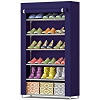 Sasimo Multipurpose Portable Folding Shoe Racks for Home Organisers with Waterproof cover-6-Tiers- Grey-Navy