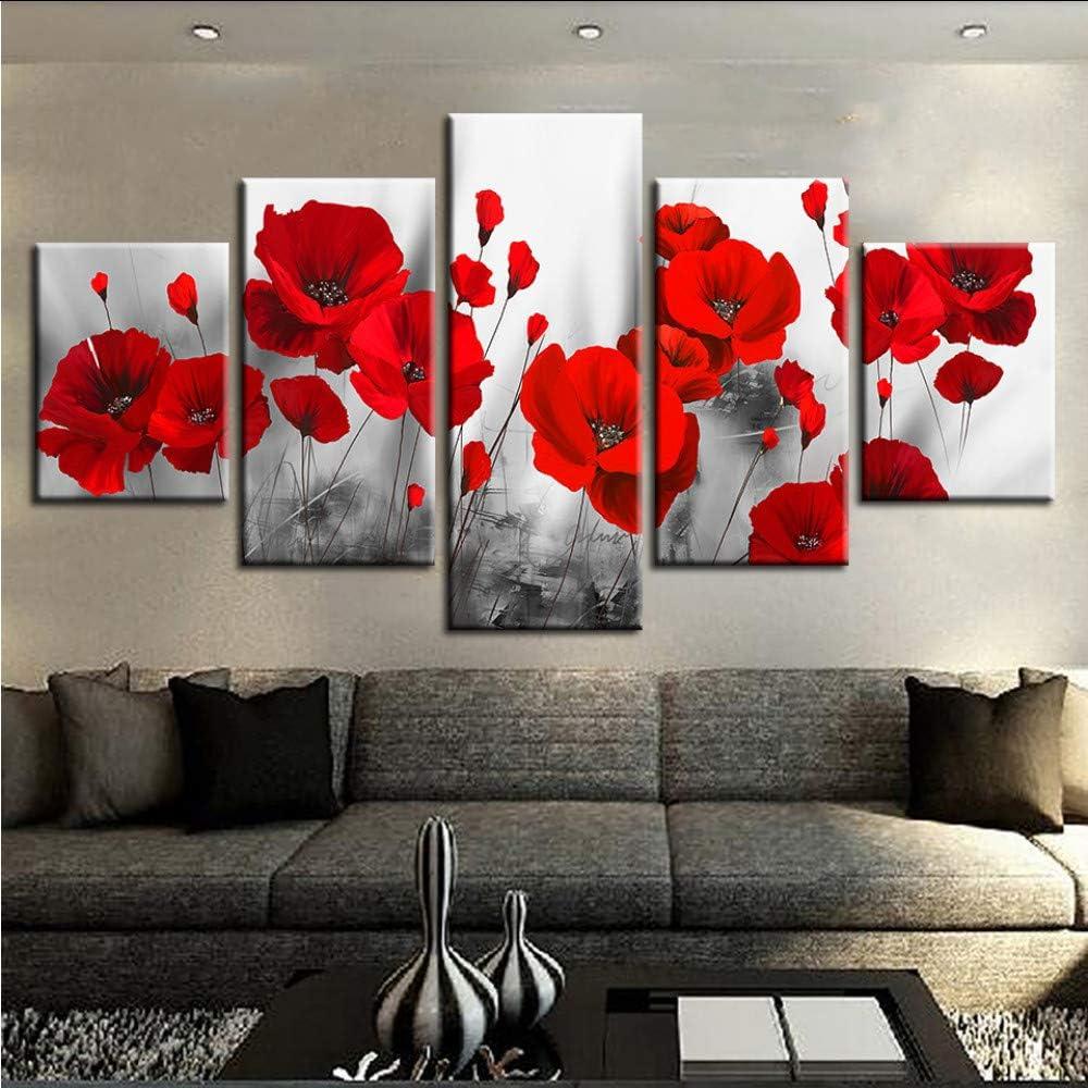 hhlwl Lienzo Impreso Cuadros Sala de Arte de La Pared Marco 5 Unidades Amapolas Románticas Pinturas Flores Rojas Cartel Modular Home Decor-40x60/80/100cm-no frame