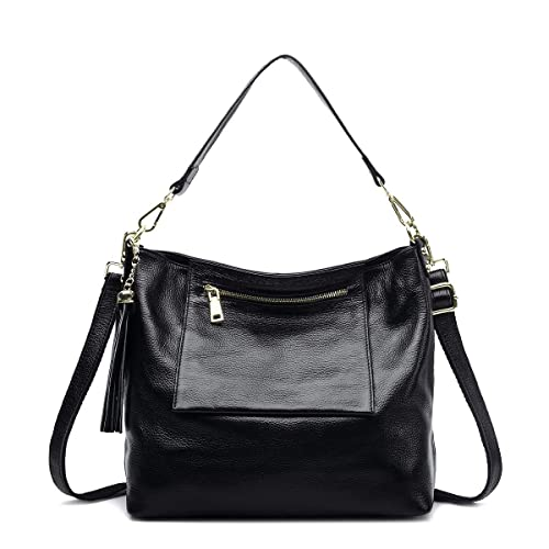 Bolsos de cuero genuino para las mujeres Top Mango Bolsa Crossbody bolsas de gran capacidad,Black: Amazon.es: Zapatos y complementos