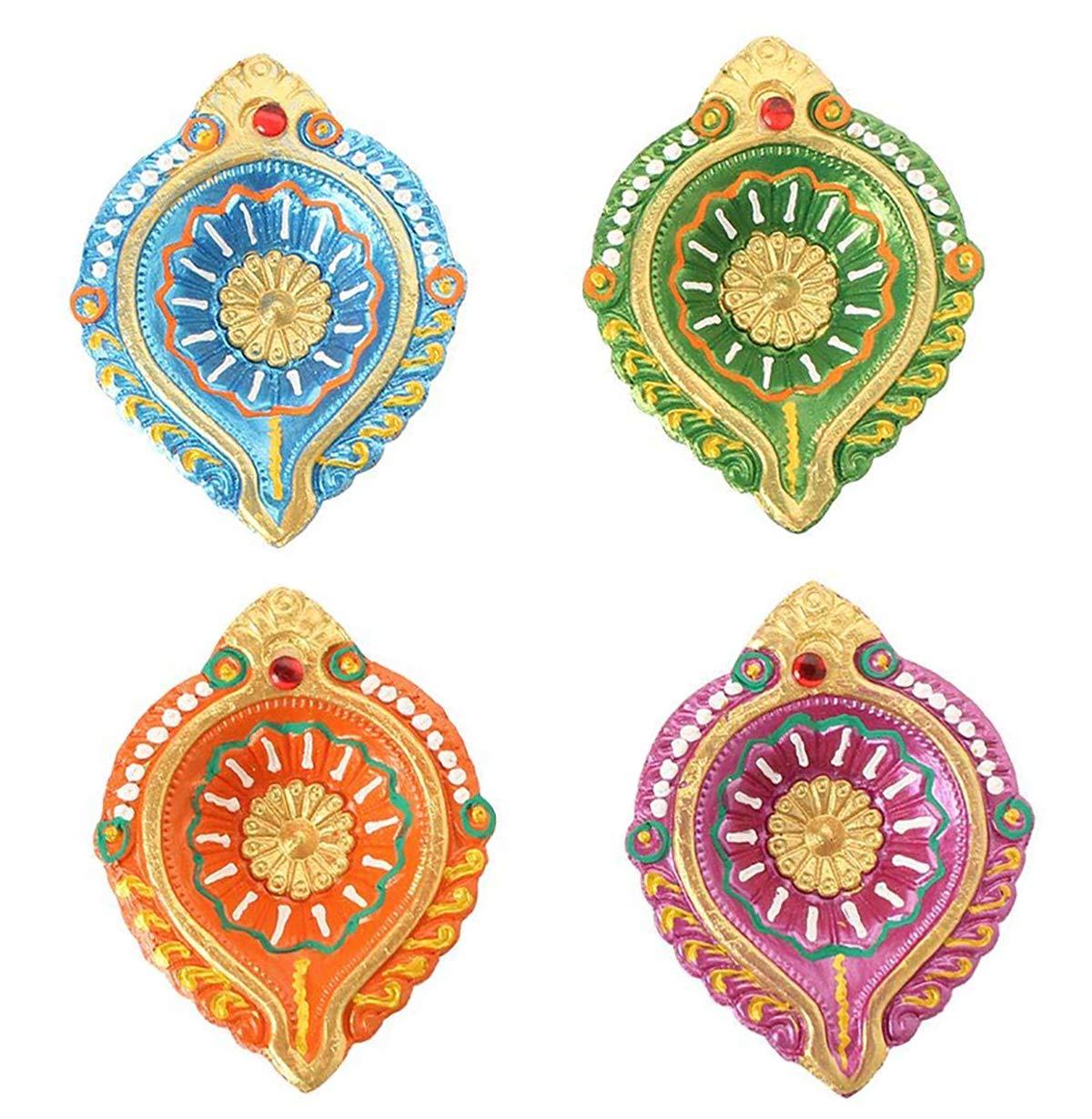 Store Indya, Set di 2 diamanti Diwali riutilizzabili a mano in terracotta fatta a mano con disegno decorato a mano Terra rossa a forma di forma rotonda Diwali decorazione