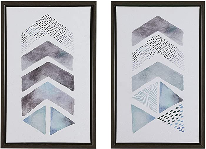 Urban Habitat This and That Way Wall Art-Geometric Chevron Casual Print in Natural Wood Frame Modern Shapes Stretched 2 Piece Set Directional Canvas, Living Room Décor, Blue/Grey