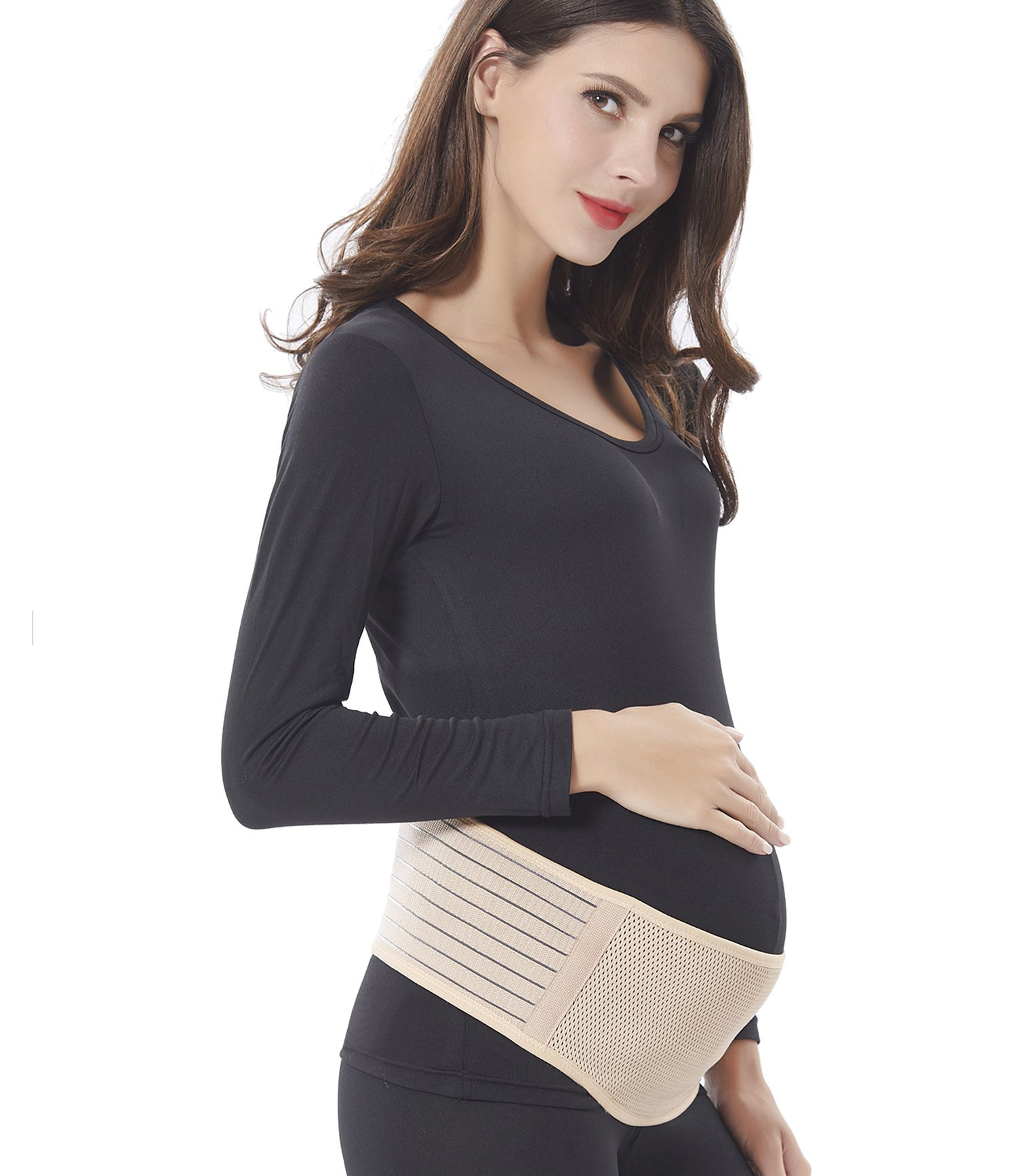 Maternity Belt - Babo Care Breathable Lower Back and Pelvic Support - Comfortable Belly Band for Pregnancy - Prenatal Cradle for Baby - One Size,Nude Color
