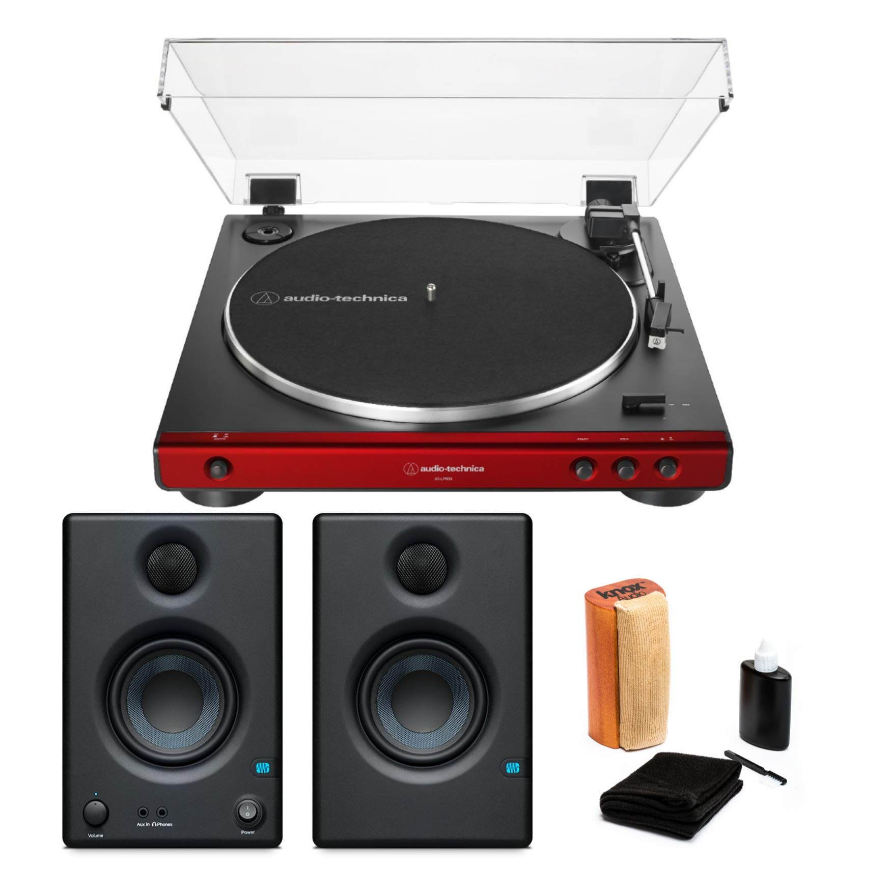 Audio-Technica AT-LP60X Turntable (Red) Bundle with Monitors and Knox Cleaning Kit (3 Items)
