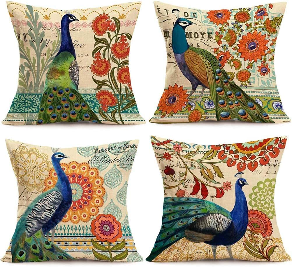 ULOVE LOVE YOURSELF 4Pack Peacock Throw Pillow Covers Only Decorative Square Pillowcases Cotton Linen Cushion Cover 18 X 18 Inch (Peacock)