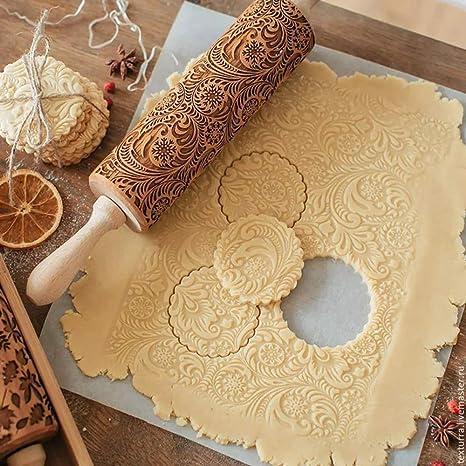 Christmas Embossed Rolling Pin Biscuit Roller Xmas Baking Cookies Cake Wooden