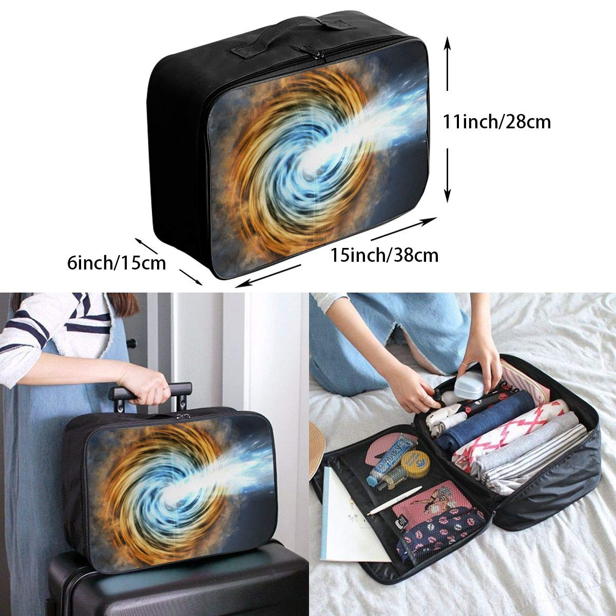 YueLJB A Blazar Jet Galaxy Lightweight Large Capacity Portable Luggage Bag Travel Duffel Bag Storage Carry Luggage Duffle Tote Bag