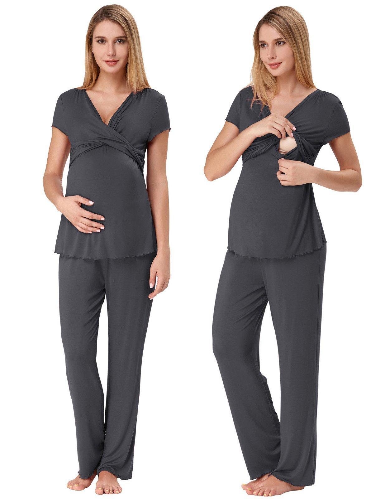 Cozy Pajamas for New Mom Stretchy Nursing Set Loungewear for Fall Dark Grey S ZE45-5