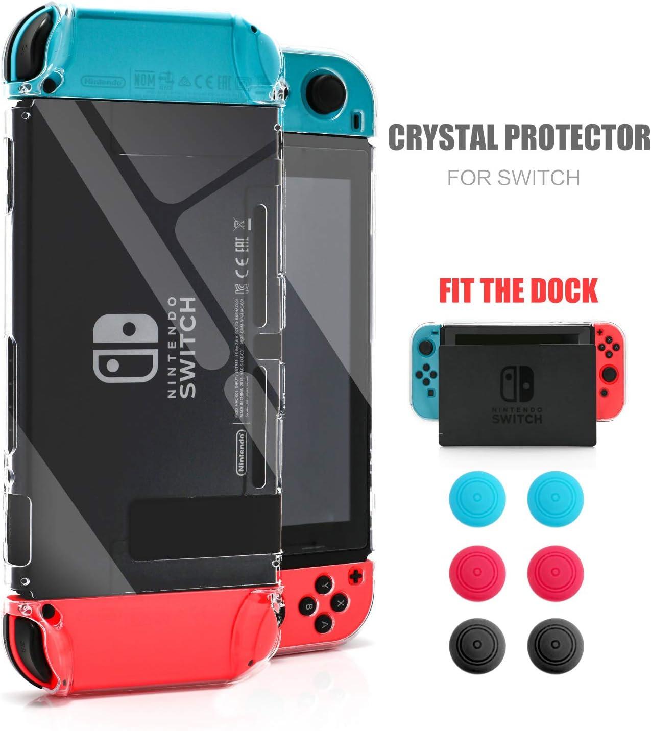 Dockable - Carcasa Protectora para Nintendo Switch, Protector Transparente para Nintendo Switch con Protector de Pantalla de Cristal Templado y 6 Fundas Joy Stick: Amazon.es: Electrónica