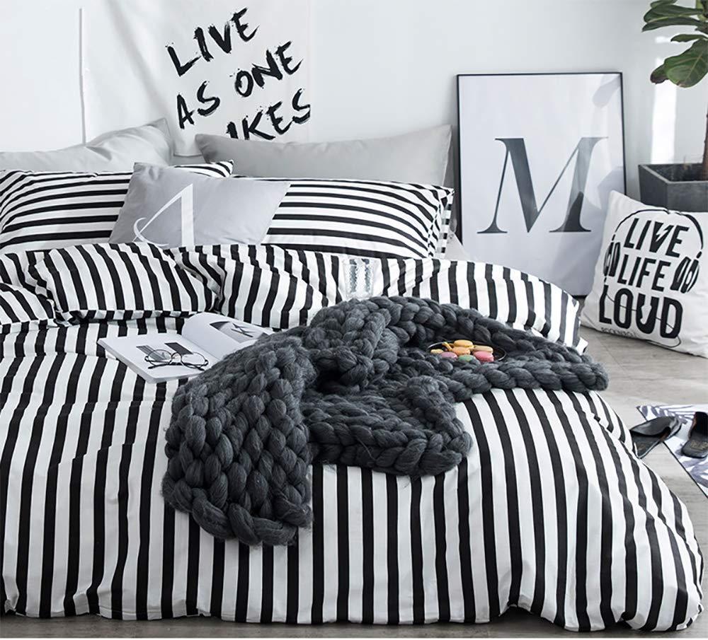 karever Black White Striped Duvet Cover Queen Vertical Ticking Stripe Bedding Full 3 PCs Cotton Comforter Cover Set for Boys Girls