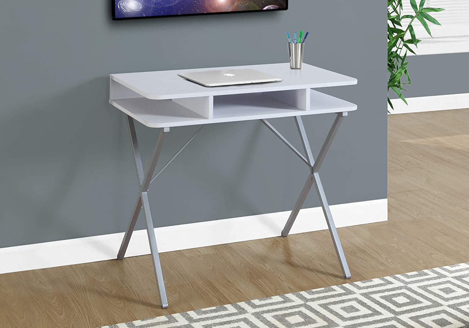 Amazon Com Monarch Specialties Laptop Table Small Desk With Open Shelves Home Office Computer Desk Metal Legs 31 L White Furniture Decor