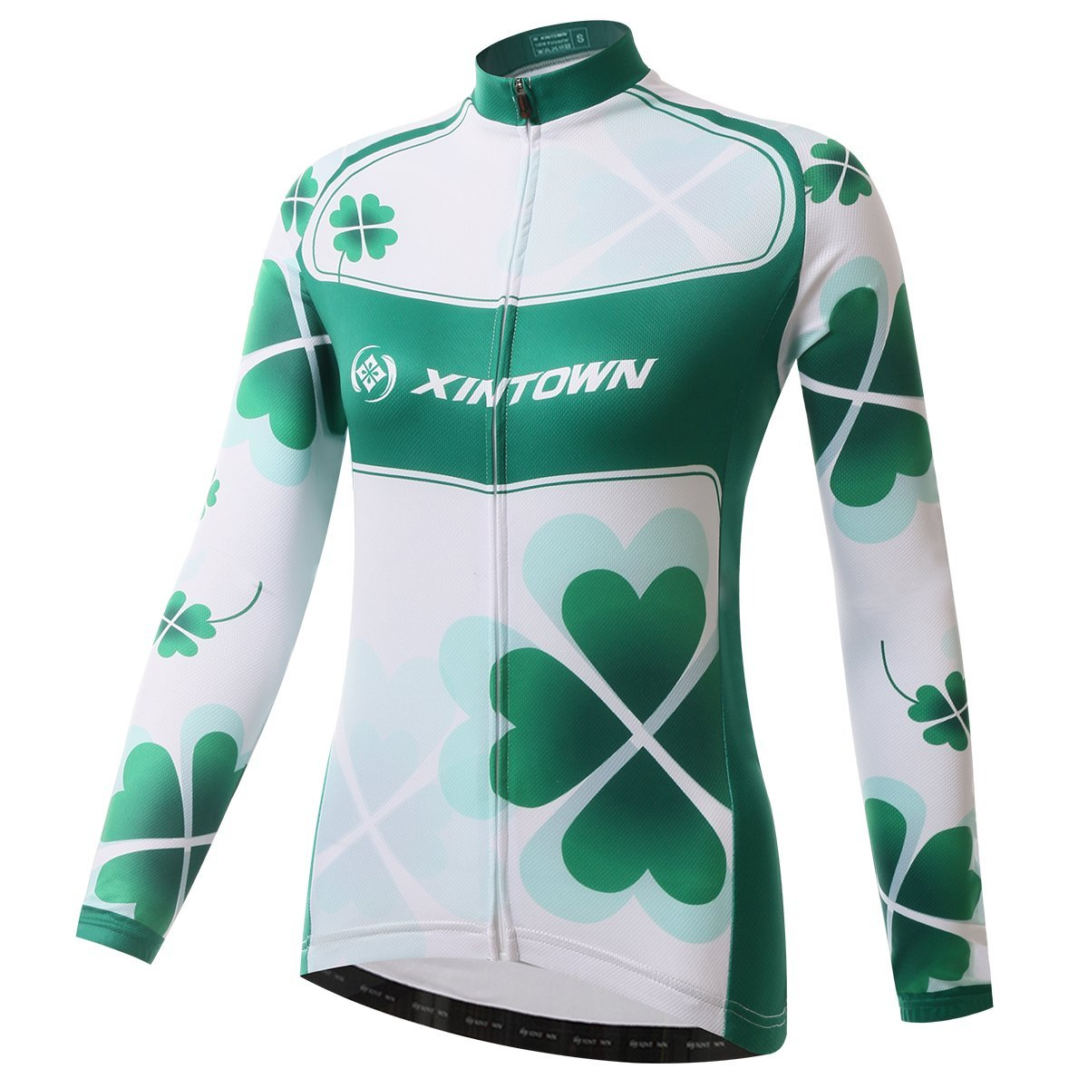 BESYL Womens Printed High-Performance Mesh Cycling Clothing Suit, Breathable Long Sleeve Cycling Jersey and Bib Padded Pants Kit for Bicycle Bike Riding Biker (Clover Green White)