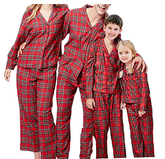 46128c6d13 Christmas Family Matching Pajamas PJs Set Plaid Christmas Pajama Set for  Family (Kids