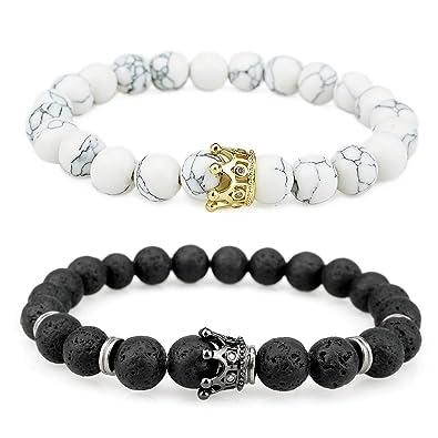 joli design vraiment à l'aise avant-garde de l'époque suyi 2 Bracelets de Distance Bracelets de Couple Blanc Pierre Volcanique  Perles Turquoise Bracelet Set Bracelet Extensible