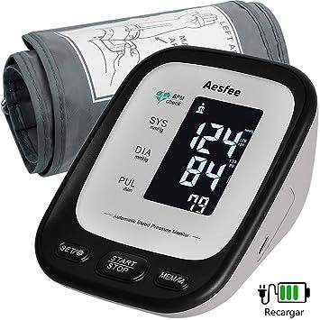 Tensiómetro de Brazo Digital Recargable USB, Monitor Eléctrico de Presión Arterial Medición Automática de la Presión Arterial y Latido Cardíaco ...