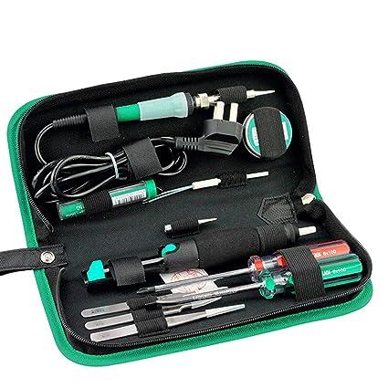Gugutogo LA101312 12PCS Set de soldadura eléctrica con destornilladores Pinzas Alambre de estaño Plata LA101312