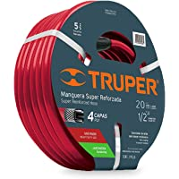 """Truper MAN-20X1/2X, Manguera armada super reforzadas 4 capas, conexiones de latón, 1/2"""", 20 m"""