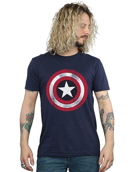 Marvel Comics Men s Captain America Shield Distressed Blue T-shirt Navy  Small 129508d74