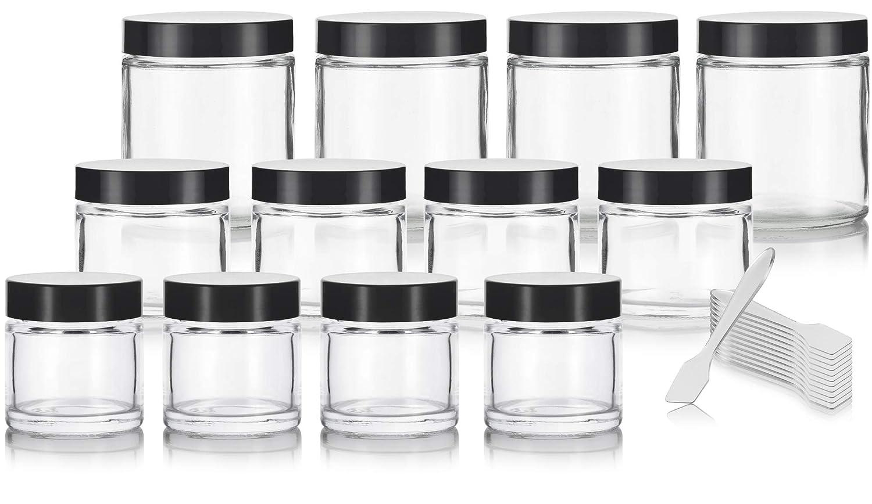 Clear Glass Straight Sided Jars 12 Pack Includes 4-1 oz, 4-2 oz, 4-4 oz Clear Glass Jars Spatulas