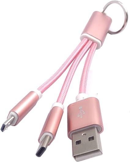 Amazon.com: wpeng 2 en 1 llavero Cable Cargador USB dual ...
