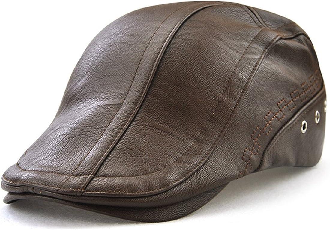 Melii PU Faux Leather Flat Cap Duckbill Hat Newsboy Irish Cabbie Cap Perforated Bandage