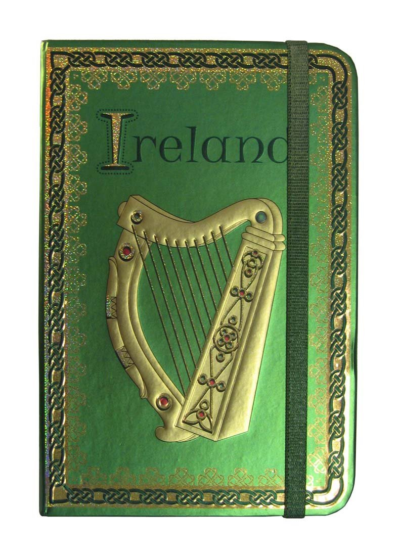 Ireland Harp Foil Notebook With A Celtic And Trinity Designed Border Carrolls Irish Gifts