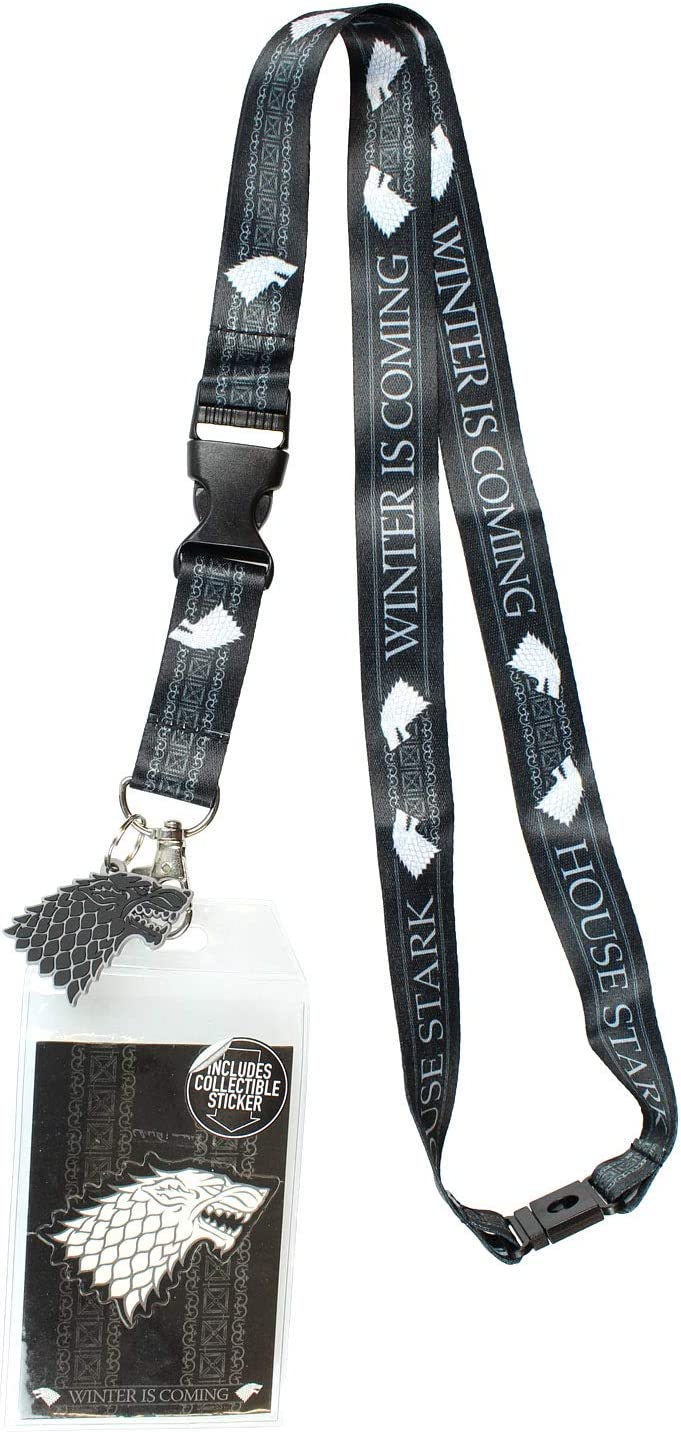Game of Thrones Stark LANYARD w// ID Holder and Charm Keychain